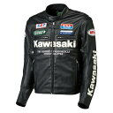 Kawasaki純正 J8008-0191 フェイクレザージャケット ブラック/ホワイト LWサイズ 春夏用