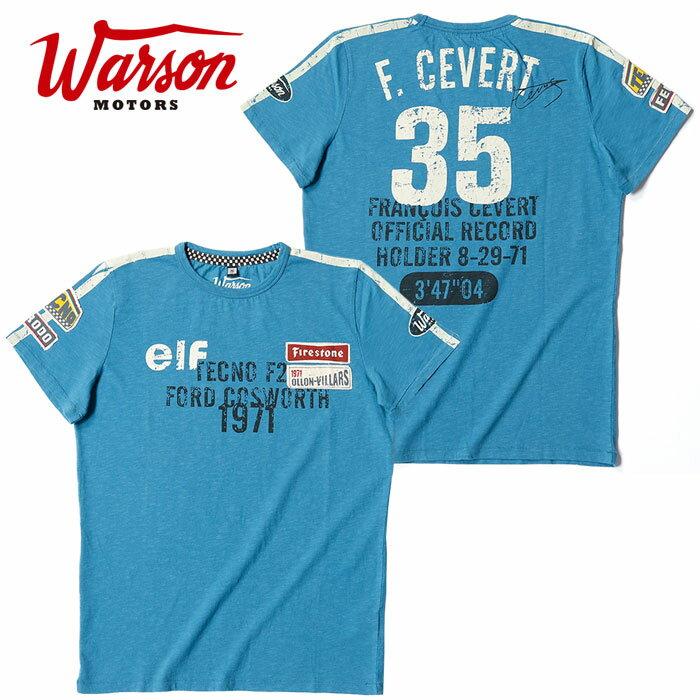 【ワーソンモータース/Warson Motors】 Cevert T-shirt セベール Tシャツ メンズ ブルー Tシャツ 半袖 elf エルフ・チーム・ティレル F1 ドライバー【メール便可】
