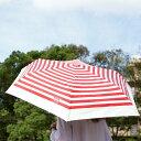 リサラーソン 晴雨兼用ミニ折りたたみ傘UVカット99% マイキーボーダー/赤【店頭受取も可 吹田】