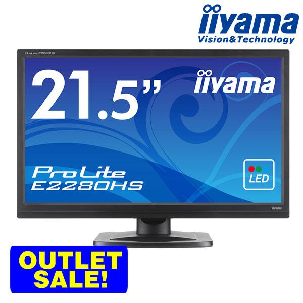 【楽天カードで+6倍】★iiyama ProLite E2280HS-B1 21.5型ワイド液晶ディスプレイ【マーベルブラック/Full HD 1920x1080/HDCP対応/応答速度5ms】<アウトレット>