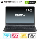 DAIV 4N-MA-AB 14型 Core i7-10510U 16GB メモリ 512GB M.2 SSD GeForce MX250 ノートパソコン Office付き 新品 mouse マウスコンピューター PC BTO
