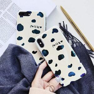 【送料無料】milk 牛 青光沢 iPhoneケース かわいい i