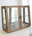 ショッピングボックス ディスプレイガラスキャビネット・ブラウン【Display Glass Cabinet(Brown)】コレクション ケース 2色 ホワイト アクセサリー フィギュア 陳列 ショーケース ダブルドア ラスティ Covent Garden インテリア ビンテージ アンティーク 鏡 ミラー