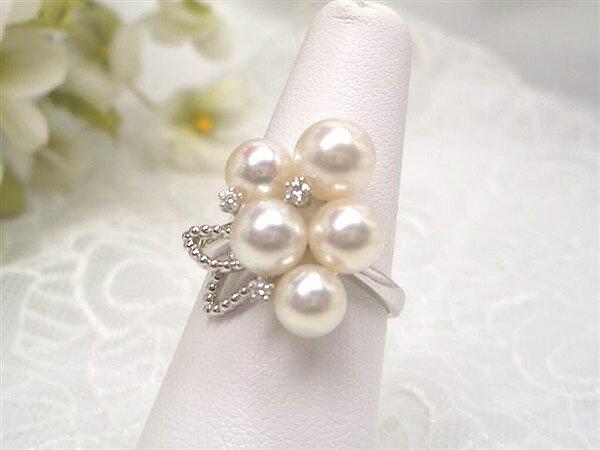 【華やかな上質パーティ真珠リング(指輪)!!】PTあこや真珠リング(指輪)6.0~7.0mm 豪華デザインの一生ものです!