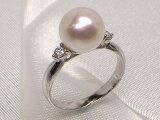 完全数量限定!最高級の花珠真珠で、一生ものリングを作りました!Pt最高級アコヤ真珠ダイヤ入りリング限定品(花珠鑑別書付き)Bダイヤ0.15ct 10P30Nov13
