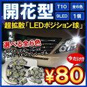 ポジションランプ ポジション灯 ナンバー灯 T10 T16 LED バルブ 9連 1個 ウェッジ球【メール便】