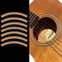 Jockomo アコースティックギター の サウンドホールに インレイステッカー ロゼッタ・ストライプ (ヘリンボーン)