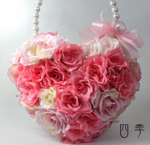 ハートバック*ブーケ*ピンク&ピンク*フェアリー*ブーケ*海外挙式【送料無料】B_0082