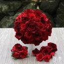 ウェディングブーケ 薔薇&ローズ 赤 レッド ラウンド ブライダル 結婚式 海外挙式 前