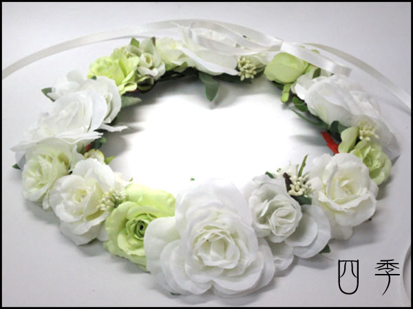 花かんむり*花冠*ヘッドドレス*ホワイト*ヘンデ...の商品画像