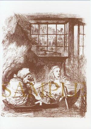 """【イギリス製】不思議の国のアリス ポストカード """"ALICE AND THE SHEEP IN A LITTLE BOAT"""