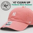 ショッピングアメカジ フォーティーセブンブランド 47 BRAND CLEAN UP ローキャップ ミニNY (B-BSRNR17GWS-IRA) ニューヨーク・ヤンキース ベースボールキャップ 帽子 ピンク メンズ レディース カジュアル アメカジ スポーツ ブランド あす楽