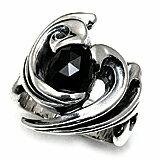 【M's collection エムズコレクション】シルバー ストーンリング メンズ ジュエリー <ブラックスピネル> メンズ ジュエリー  X0089    名入れフェザー サマー 人気のブラックスピネルを使用。