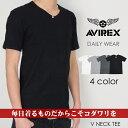 【AVIREX アビレックス アヴィレックス】 Tシャツ Vネック 無地 半袖 DAILY WEAR インナー デイリー テレコ 定番 パックt メンズ men's 国内正規品 インポート ブランド 海外ブランド 6143501