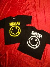 KIDS ROCK Tシャツ <strong>ニルヴァーナ</strong> スマイル 2-4 4-6 6-8 8-10 10-12/黒/ブラック/バンドTシャツ/ロックTシャツ/NIRVANA/ピ−ス 子供服/ニルバーナ