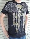 ROCK系 インディアン風 スカルTシャツ 半袖 M L XL 黒 /PUNK系/オラオラ系/お兄系/ロック/パンク/髑髏/ブラック