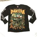 ロックTシャツ PANTERA(パンテラ) 長袖 M L XL 黒/バンドTシャツ/ロンT/ブラック/ヘビーメタル/ドクロ/骸骨