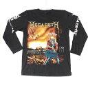 ロックTシャツ MEGADETH(メガデス) 長袖 ロンT OYSTOPIA M L XL 黒/バンドTシャツ/ロンT/ブラック/スカル/骸骨