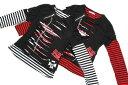 ACDC RAG 2014年新作! PUNK系 ENTERL/STシャツ FREE(M位)  黒X白 黒/赤 パンク系/KERA系/ロック系/V系/BOKU/長袖Tシャツ/原宿系/ブラック/レッド/ホワイト/ロンT