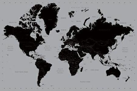 世界地図/シルバー ポスター ... : 世界地図 子供用 : 世界地図