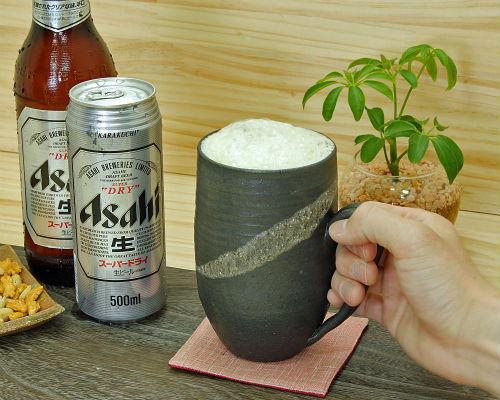 信楽焼ビールジョッキ容量700ml黒釉砂流し尻丸おしゃれビアジョッキ(tgi)陶器たっぷりタンブラー