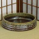 送料無料、産地直送! 信楽焼 陶器製 ラスター切立丸水盤 8号 (MI8050-06lG) 華道用水