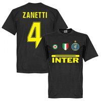 【予約RET06】ブラック4RE-TAKE インテル Team Tシャツ 4番 サネッティ ブラック【サッカー/Inter Milan/Zanetti/セリエA】ネコポス対応可能の画像