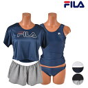 ショッピングタンキニ FILA フィラ 228-708 レディース フィットネス 水着 タンキニ Tシャツ シ ショートパンツ付き 4点セット 体型カバー フィットネス HX1 F1