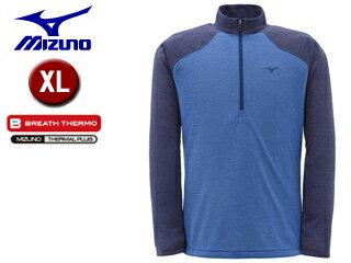 【クリアランススタート!】 mizuno/ミズノ A2JA4566-26 ブレスサーモ ライトインナー長袖ジップネックシャツ メンズ 【XL】 (ターキッシュブルー)