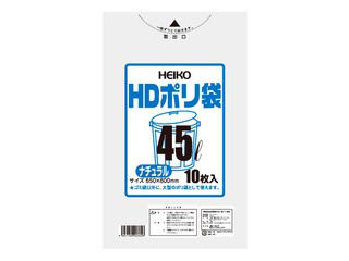 SHIMOJIMA/シモジマ HDポリ袋 ナチュラル(10枚入)45L