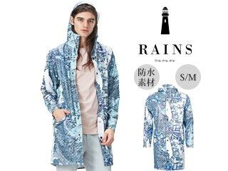 RAINS/レインズ 完全防水■レインロングジャケットAndrew Salgado AOP Grey S/M 防水 撥水 レインコート 雨 雪 男女兼用 雨具 合羽