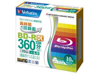 三菱化学メディア 【Verbatim/バーベイタム】 録画用BD-R DL 50GB(1-4倍速対応) 5mmケース 100枚セット VBR260YP10V1 【箱買いでお買い得!】10枚入り×10個 合計100枚セット