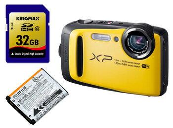 FUJIFILM/フジフイルム FinePix XP90(イエロー)+純正バッテリー+KINGMAX 32GB SDHCカードセット【xp90set】