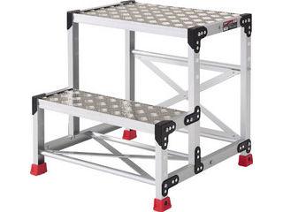 TRUSCO/トラスコ中山 作業用踏台 アルミ製・縞板タイプ 天板寸法600X400XH600/TSFC-266