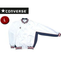 CONVERSE/コンバース CB14112S-1129 ウォームアップジャケット(前ボタン・裾フライス仕様) 【L】 (ホワイト×ネイビー)の画像