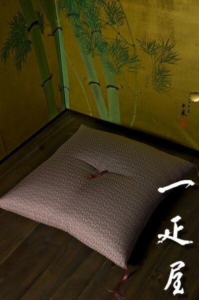 緞子(鼠紫捩り花つくし)座布団 59×63cm ※八端判