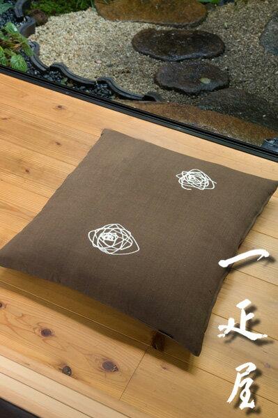 土布(柿渋染ぐるぐる・黒)座布団カバー 55×59cm ※銘仙判