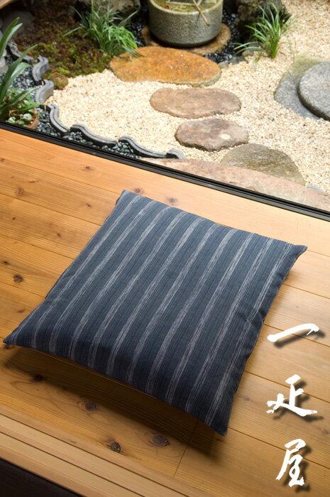ちぢみ絣 ( 紺鼠 ) 座布団カバー 55×59cm ※ 銘仙判