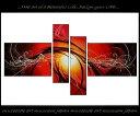 【油彩絵】【モダン】【手書き】【壁掛け】【抽象画】【線画】【凹凸画】【インテリア】『パネルアート』4パネルSET P4M036XL 赤色 和風