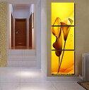 【絵画】【モダン】【手書き】【壁掛け】【油絵】【花】【インテリア】『パネルアート』3パネルSETバリ風 黄金の花 オランダカイウ 和風 P3H023