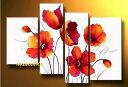 【絵画】【モダン】【手書き】【壁掛け】【油彩画】【自然画】【花】【インテリア】『パネルアート』4パネ