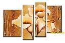 【ミュゼ・デユ】【手書き油絵】【モダン】【インテリア】【抽象画】【バリアート】【モノトーン】【凹凸】【グラデーション】【ドットアート】『パネルアート』4パネルSETバリ風 タイ風 東南アジア風 風水 金運和風 幸運の花 黄橙赤 P4H004