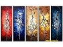 【絵画】【モダン】【手書き】【壁掛け】【油彩画】【自然画】【抽象絵】【インテリア】『パネルアート』5パネルSET人物画 ダンス P5D003