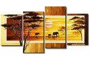 【ミュゼ・デユ】【手書き】【壁掛け】【油絵画】【自然画】【モダン】【インテリア】【風景画】『パネルアート』4パネルSETバリ風 夕焼け アフリカ 東南アジア 動物 ゾウ&キリン 象 黄色 P4D003