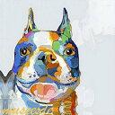 ミュゼ・デユ オイルペイントモダン ファブリック パネルアート ペット 絵画 動物 油彩絵 壁掛け 手書き アートパネル 犬 猫 鳥 魚 鹿 猿 熊 蛙 虫 馬 『カラフル ブルドッグ』フレームなし ADD035S