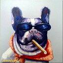 ミュゼ・デユ オイルペイントモダン ファブリックパネルアート ペット 絵画 動物 油彩絵 壁掛け 手書きアートパネル 犬 猫 鳥 魚 鹿 猿 熊 蛙 虫 馬 フレンチ・ブルドッグ フレームなし ADD009