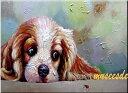 ミュゼ・デユ オイルペイントモダン ファブリック パネルアート ペット 絵画 動物 油彩絵 壁掛け 手書き アートパネル 犬 猫 鳥 魚 鹿 猿 熊 蛙 虫 馬 象 『キャバリアとてんとう虫』フレームなし ADD026