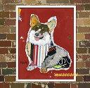 【オイルペイント】絵 絵画犬の絵 ペットの絵 ウェルシュ・コーギー・ペンブロークサイズS:縦40cm×横60cm×厚さ3.0cm 【ファブリックパネル】【かべ 壁飾り】壁掛け ノンフレーム 子供 部屋