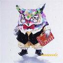 ミュゼ・デユ オイルペイントモダン ファブリックパネルアート ペット 絵画 動物 油彩絵 壁掛け 手書き アートパネル 犬 猫 鳥 魚 鹿 猿 熊 蛙 虫 馬 『博士のフクロウ』フレームなし ADL004
