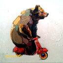 ミュゼ・デユ オイルペイントモダン ファブリックパネルアート ペット 絵画 動物 油彩絵 壁掛け 手書き アートパネル 犬 猫 鳥 魚 鹿 猿 熊 蛙 虫 馬 『熊さんとバイク』 フレームなし ADD047